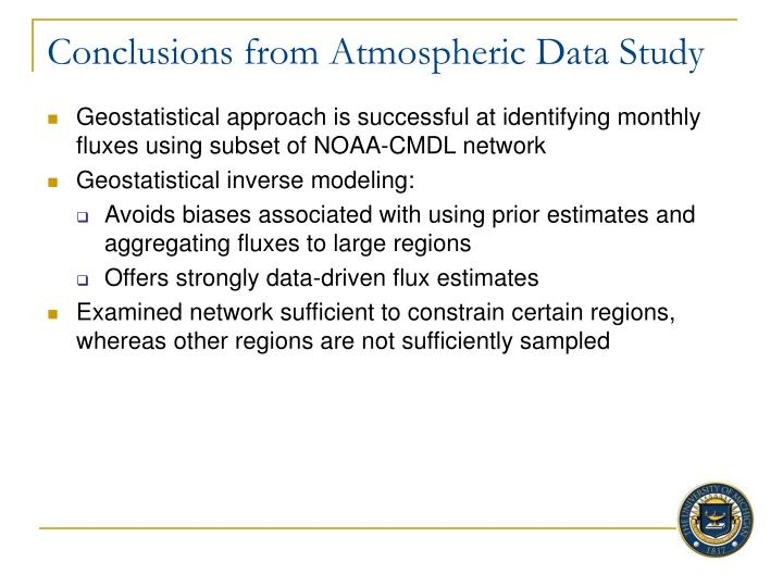 Conclusions from Atmospheric Data Study