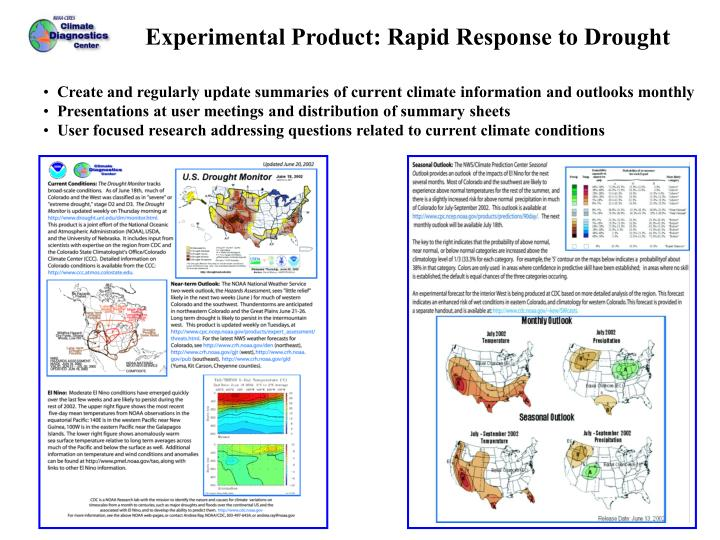 Experimental Product: Rapid Response to Drought