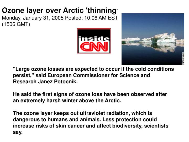 Ozone layer over Arctic 'thinning