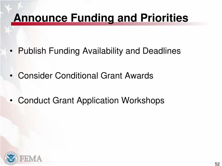 Announce Funding and Priorities