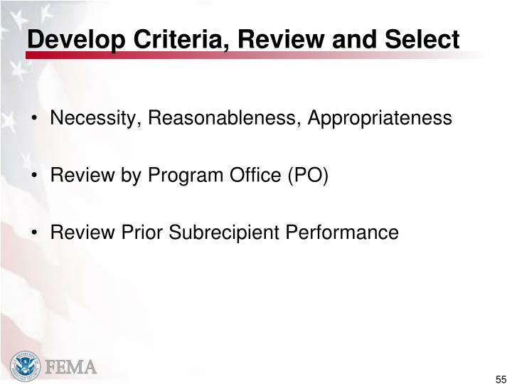 Develop Criteria, Review and Select
