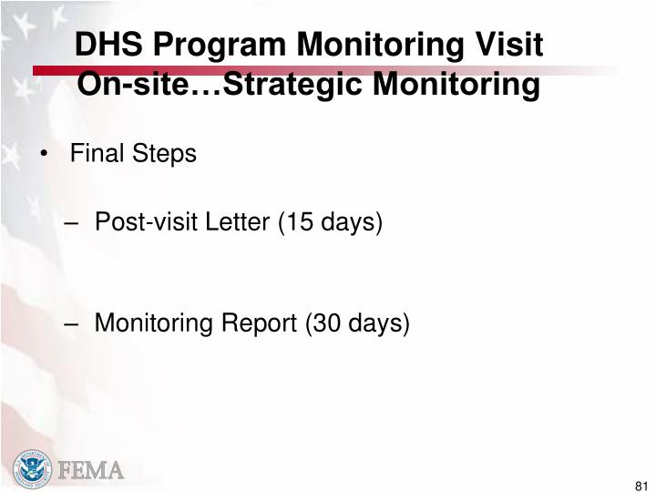 DHS Program Monitoring Visit