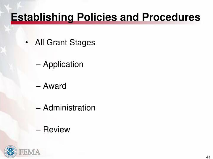 Establishing Policies and Procedures