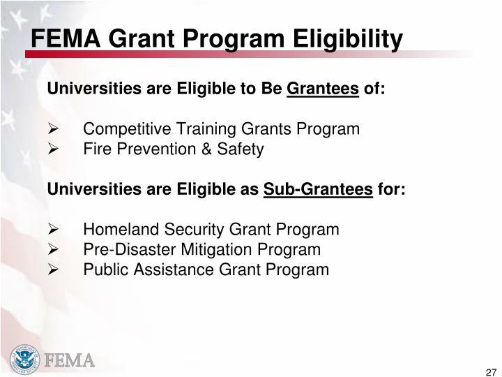 FEMA Grant Program Eligibility