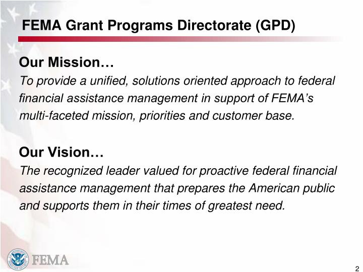 FEMA Grant Programs Directorate (GPD)