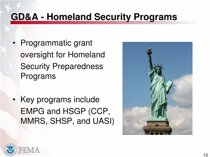 GD&A - Homeland Security Programs