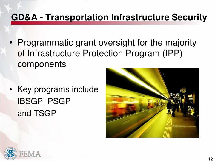 GD&A - Transportation Infrastructure Security