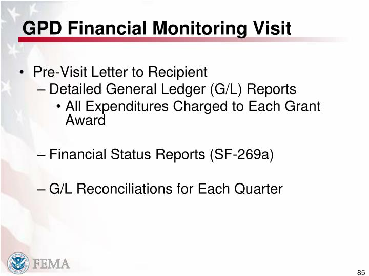 GPD Financial Monitoring Visit