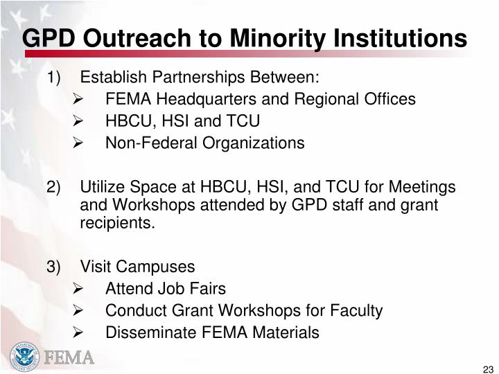 GPD Outreach to Minority Institutions