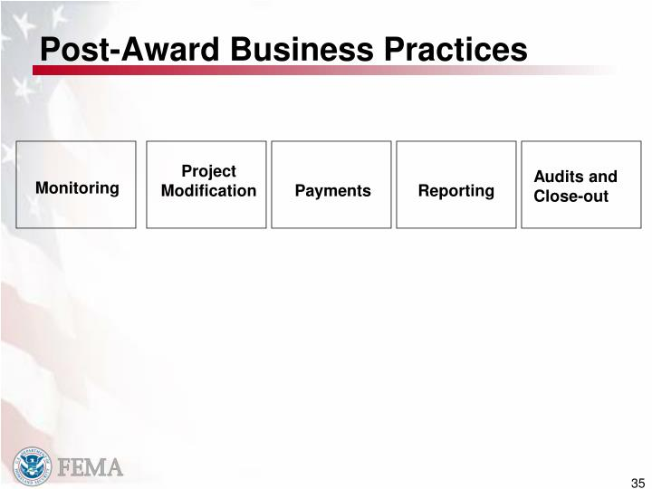 Post-Award Business Practices