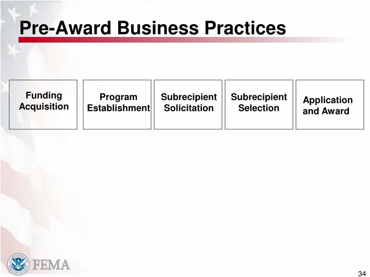 Pre-Award Business Practices