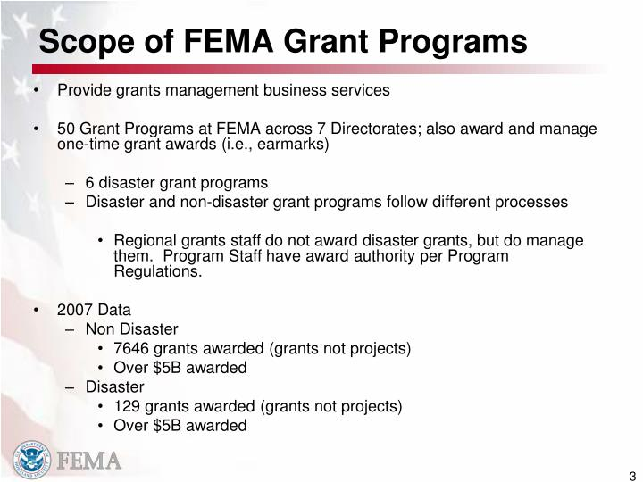 Scope of fema grant programs
