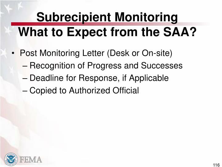 Subrecipient Monitoring