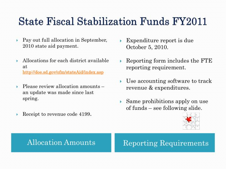 State Fiscal Stabilization Funds FY2011