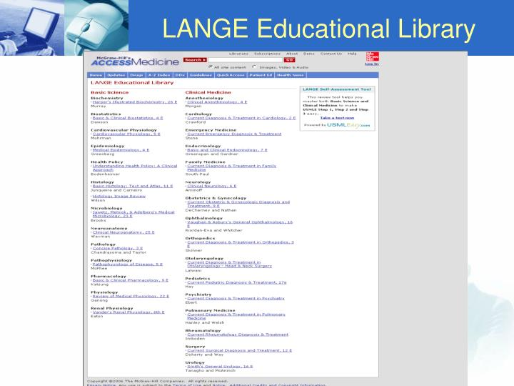 LANGE Educational Library