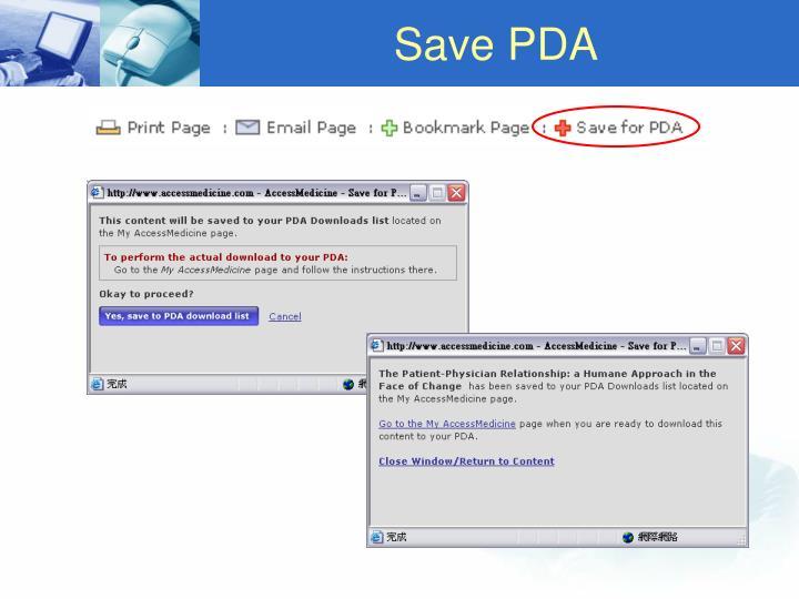 Save PDA