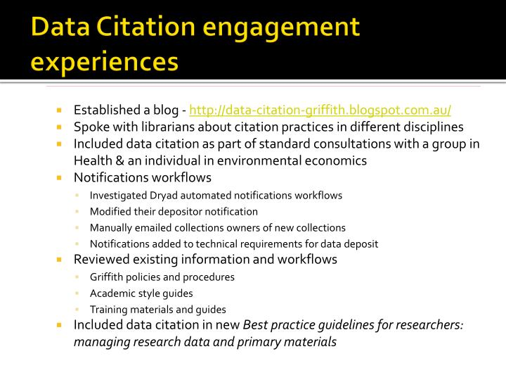 Data Citation engagement experiences