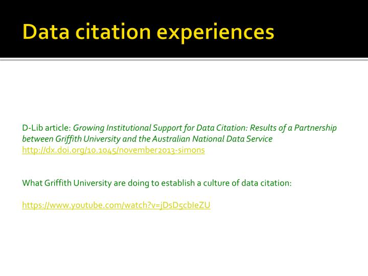 Data citation experiences