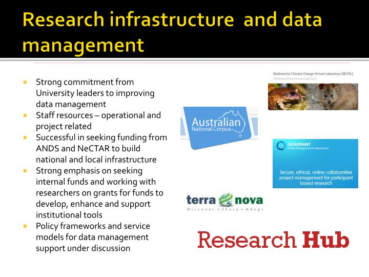 Research infrastructure  and data management