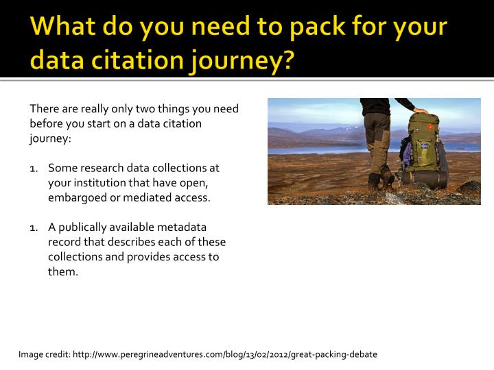 What do you need to pack for your data citation journey?