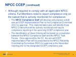 npcc ccep continued