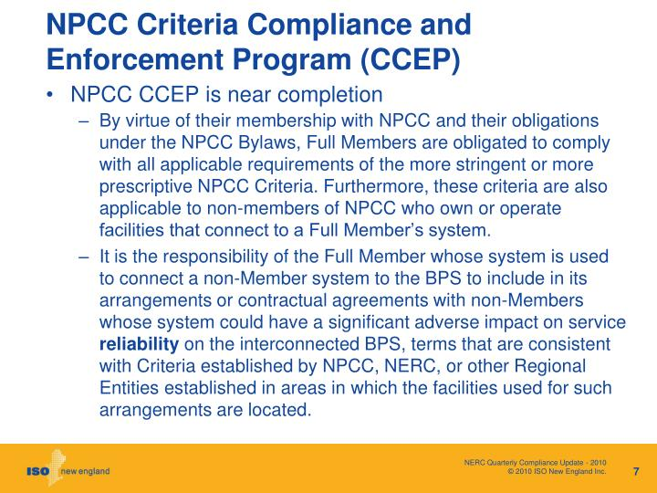 NPCC Criteria Compliance and Enforcement Program (CCEP)