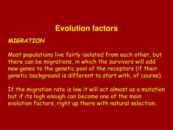 Evolution factors