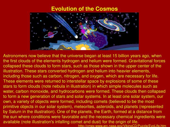 Evolution of the Cosmos