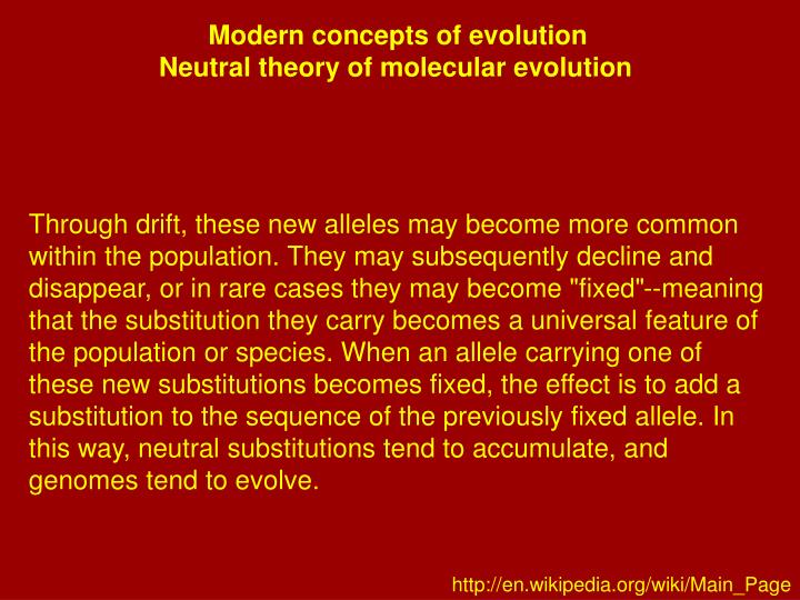 Modern concepts of evolution