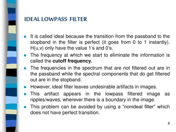 IDEAL LOWPASS  FILTER
