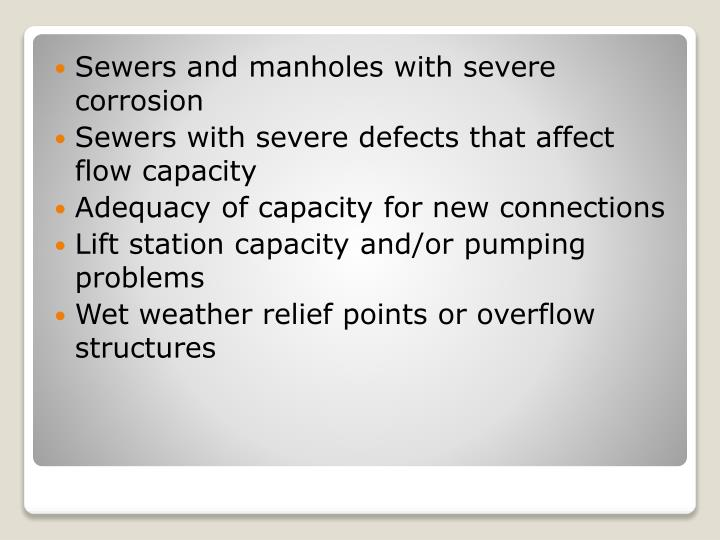 Sewers and manholes with severe corrosion