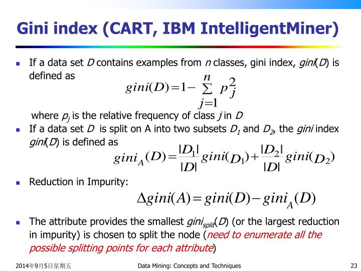 Gini index (CART, IBM IntelligentMiner)
