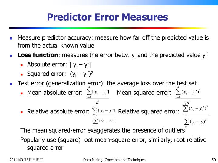 Predictor Error Measures