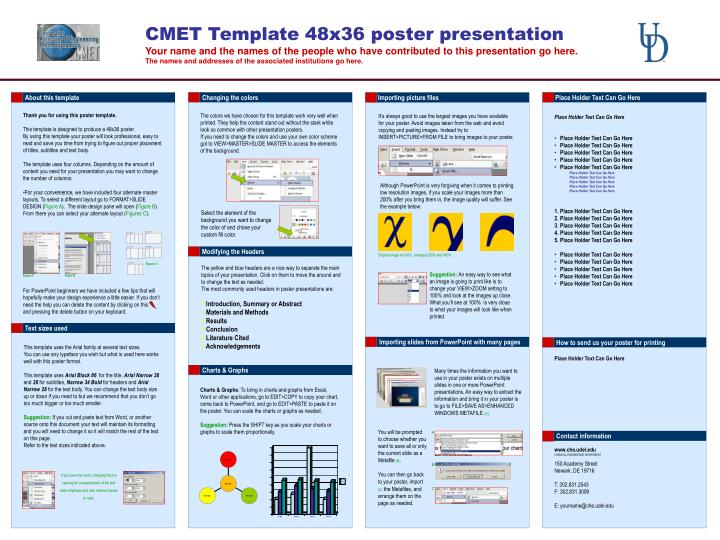Ppt cmet template 48x36 poster presentation powerpoint for Powerpoint poster templates 48x36