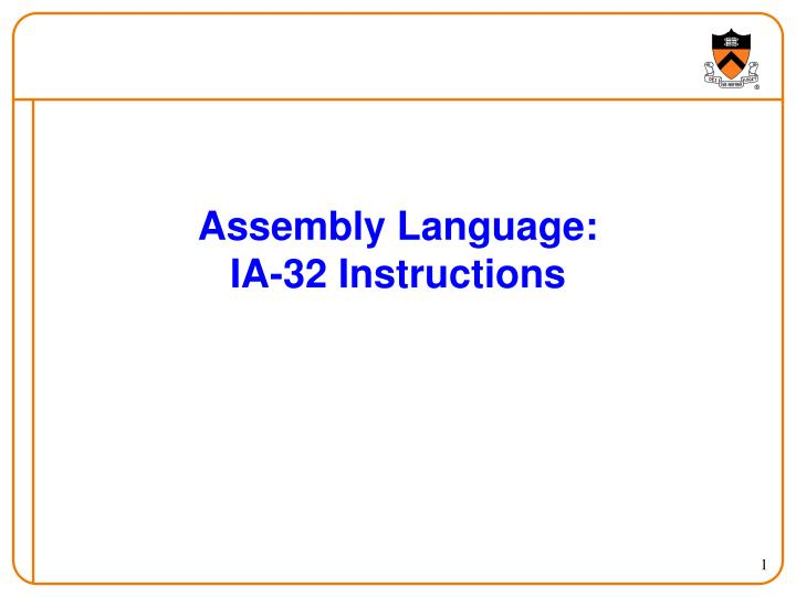 Assembly Language: