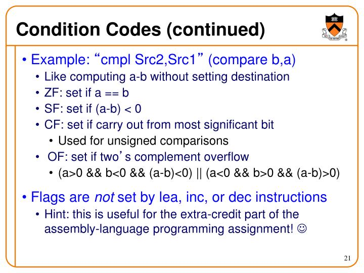 Condition Codes (continued)
