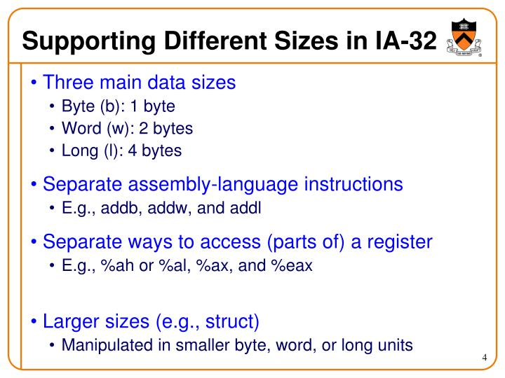 Supporting Different Sizes in IA-32