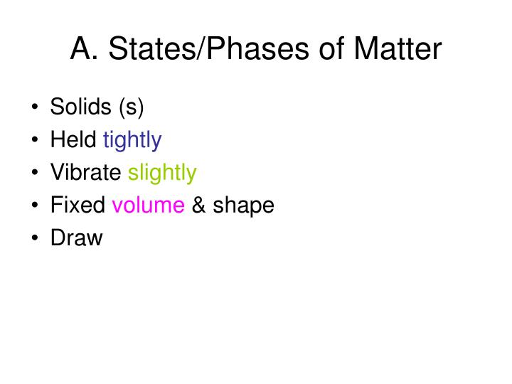 A. States/Phases of Matter