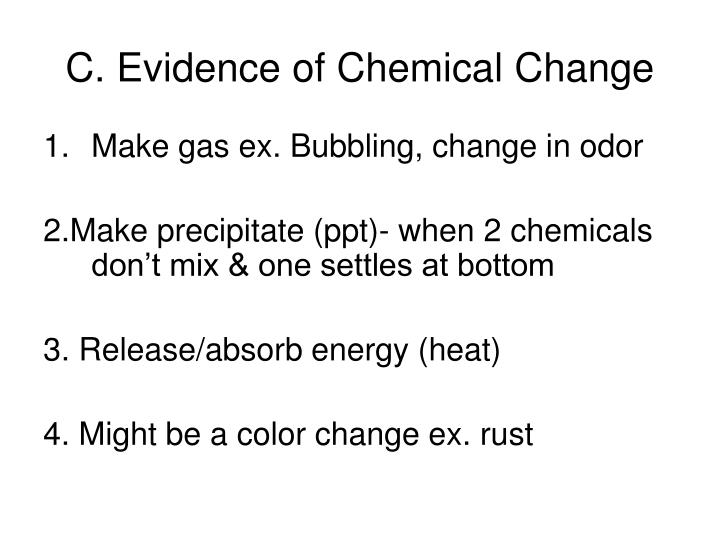 C. Evidence of Chemical Change