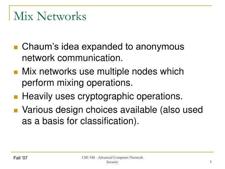 Mix Networks