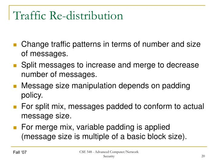 Traffic Re-distribution