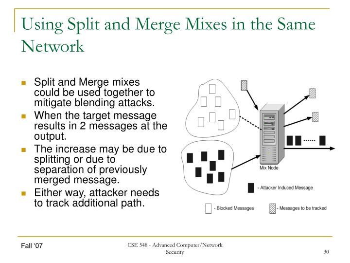 Using Split and Merge Mixes in the Same Network