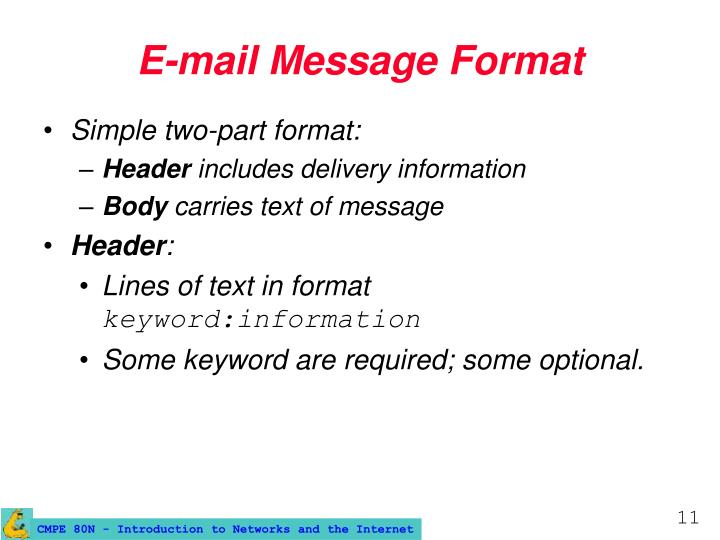 E-mail Message Format