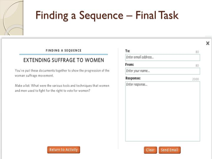 Finding a Sequence – Final Task