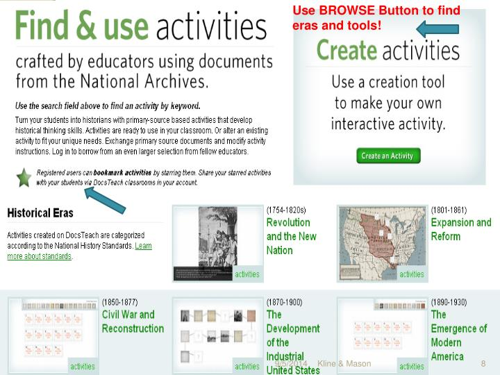 Use BROWSE Button to find eras and tools!