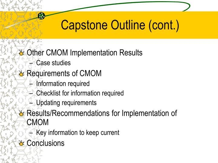 Capstone Outline (cont.)