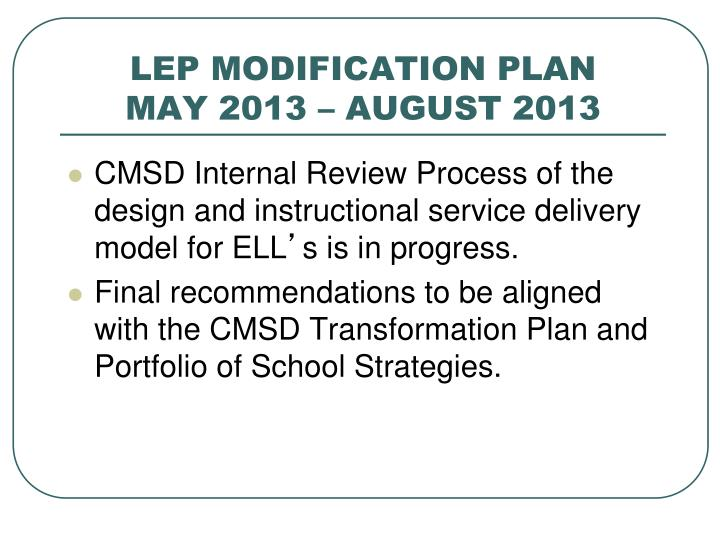 LEP MODIFICATION PLAN