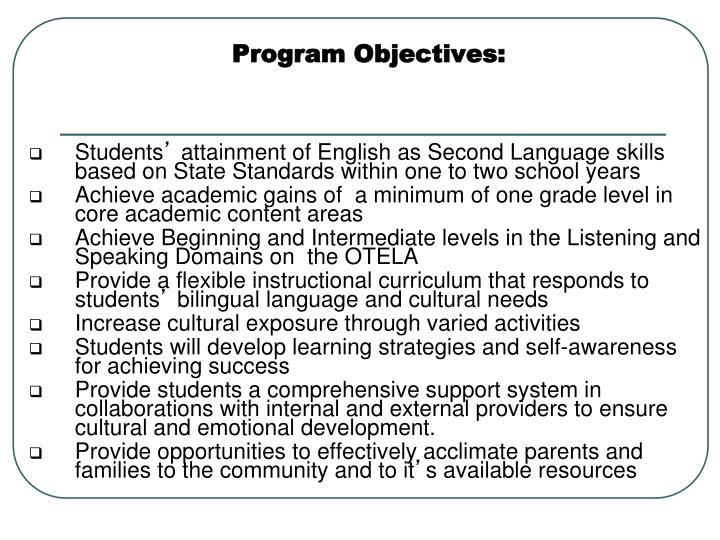 Program Objectives: