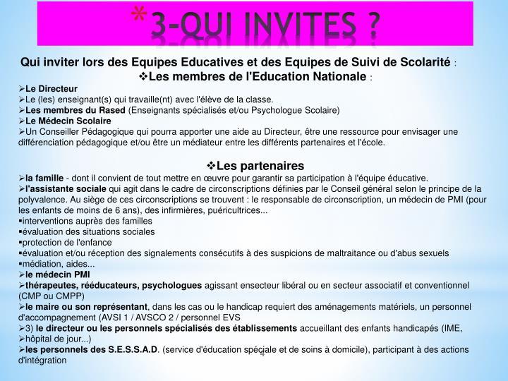 Qui inviter lors des Equipes Educatives et des Equipes de Suivi de Scolarité