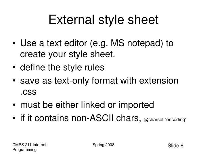 External style sheet